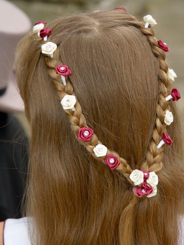 Peinados de comunión - Trenzas parte alta cabeza